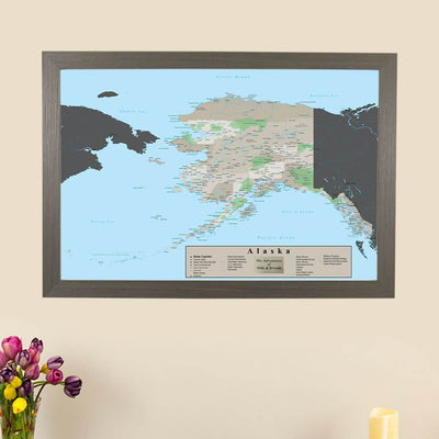 Earth Toned Alaska Frame Pin Map main picture