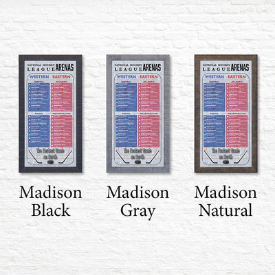 NHL Hockey League Arenas Bucket List Shown in Premium Madison Frames