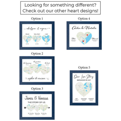 Custom Love Story Map Themed Canvas Artwork Layout Options