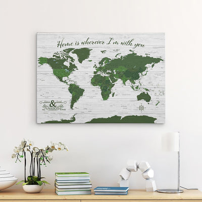Green Gallery Wrapped Anniversary Push Pin Map