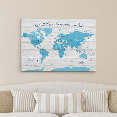 Light Blue Gallery Wrapped Anniversary Push Pin Map