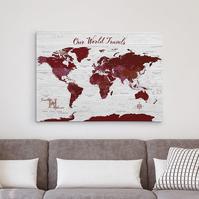 Red Gallery Wrapped Anniversary Push Pin Map