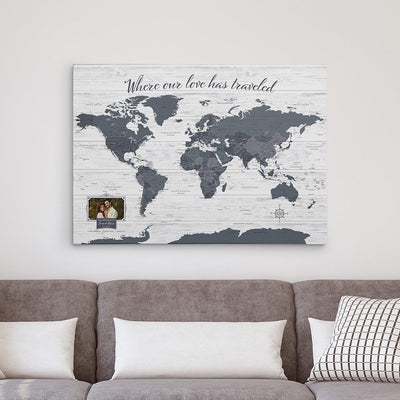 Gray Gallery Wrapped Anniversary Push Pin Map with Photo Personalization