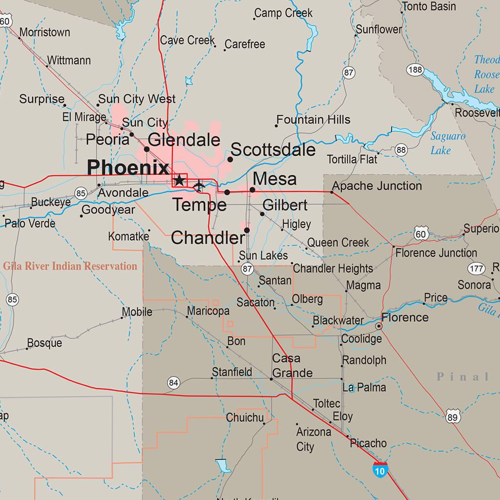Map Of State Of Arizona.Arizona Earth Toned Travel Map With Pins