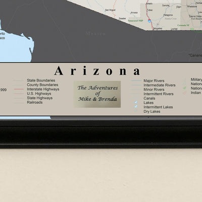 Earth Toned Arizona State Map plaque location