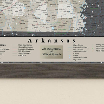 Arkansas State Map with Personalized Plaque