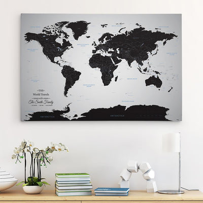 30x45 Gallery Wrapped Canvas Black Ice World Map