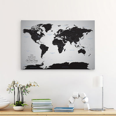 24x36 Gallery Wrapped Canvas Black Ice World Map