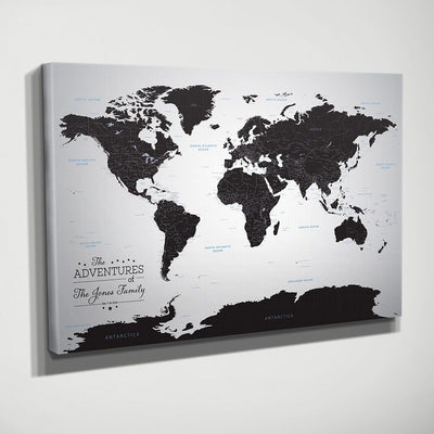Black Ice World Gallery Wrapped Map Style Side View