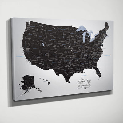 Gallery Wrapped Black Ice USA Wall Map