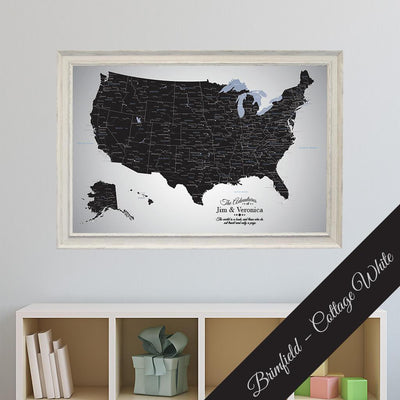 Black Ice USA Canvas Push Pin Map Premium Brimfield Cottage White Frame