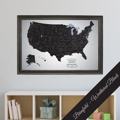 Canvas - Black Ice USA Travel Map with pins