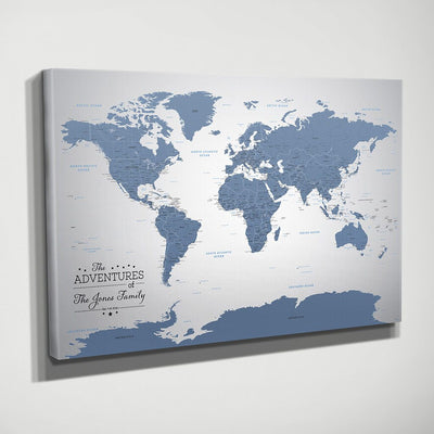 Gallery Wrapped Blue Ice World Map Side View