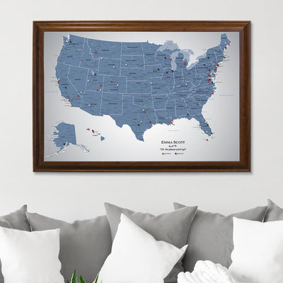 Blue Ice USA Push Pin Travel Map Brown Frame
