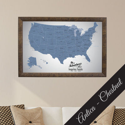 Canvas - Blue Ice USA Push Pin Travel Map with pins