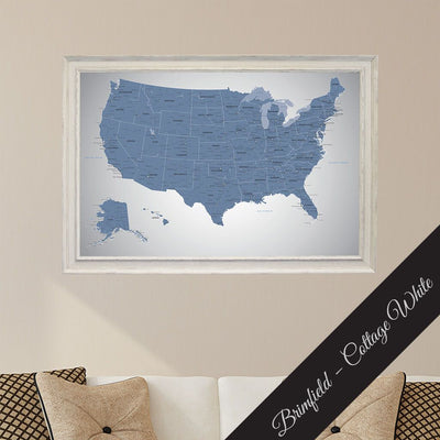 Framed Canvas Blue Ice US Travelers Map with Pins Premium Brimfield Cottage White Frame