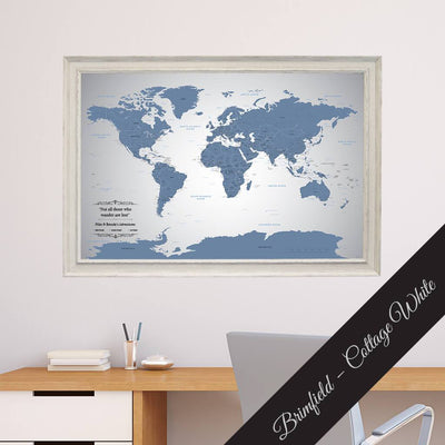 Blue Ice Canvas map in Brimfield Cottage White Frame