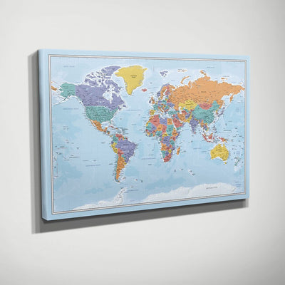 Gallery Wrapped Blue Oceans World Map Side View