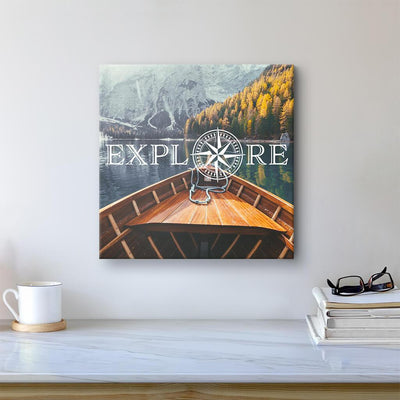 Explore - Travel Art - Boat on Lake