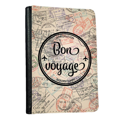 Bon Voyage passport holder close up