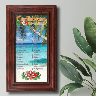 Caribbean Destinations Bucket List Solid Wood Cherry Frame