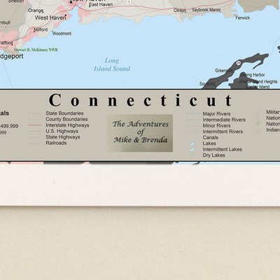 Earth Toned Connecticut State Travel Map Plaque Location