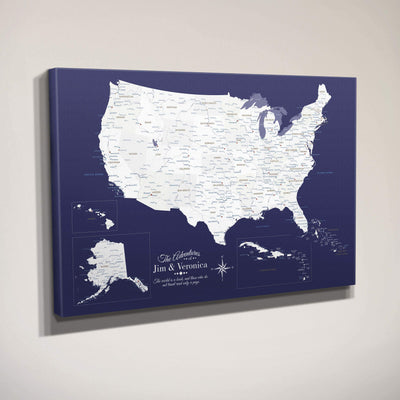 Side View of Gallery Wrapped Canvas Navy Explorers USA & Caribbean Map