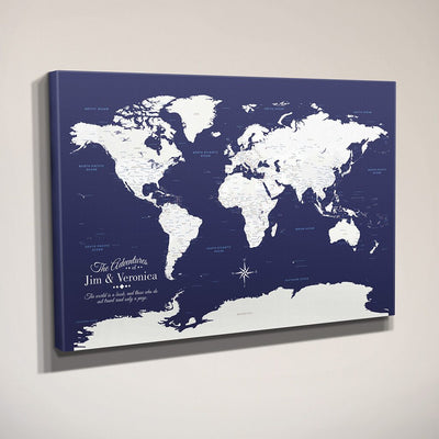 Side View Navy World Gallery Wrapped Push Pin Map