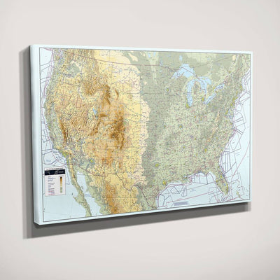 Gallery Wrapped Canvas VFR USA Pilot's Map Side View