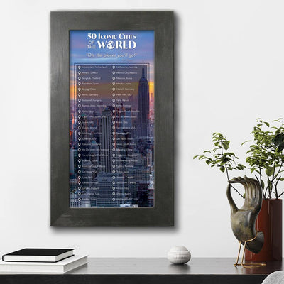 Iconic Cities of the World Bucket List Rustic Black Frame