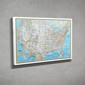 Gallery Wrapped Canvas Classic US Map with pins