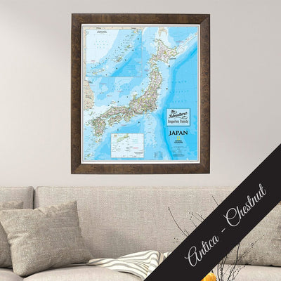 Classic Japan Map on Canvas in Premium Antica Chestnut Frame