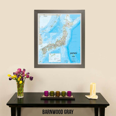 Canvas Classic Japan Map by Nat Geo in Barnwood Gray Frame