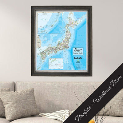 Canvas Wall Map of Japan by Nat Geo in Premium Solid Wood Brimfield Weathered Black Frame