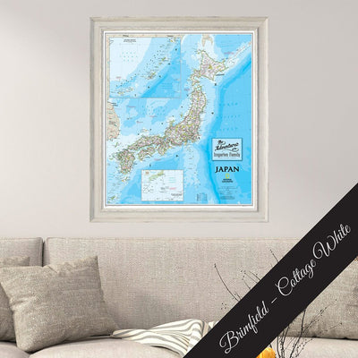 Canvas Japan Classic Map in Premium Brimfield Cottage White Real Wood Frame