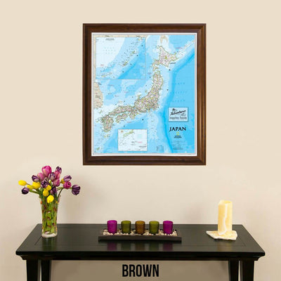 Canvas Japan Wall Map with Pins in Brown Frame