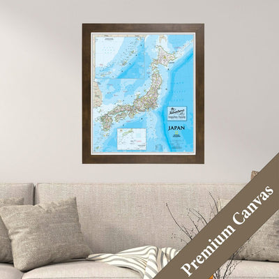 Framed Canvas Map of Japan with Pins Main Image