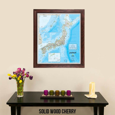 Classic Japan Map with Pins in Solid Wood Cherry Frame