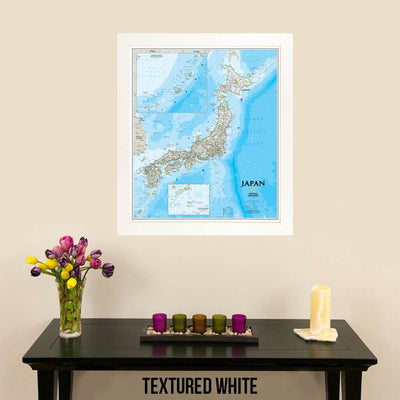 Canvas Classic Japan Map in Textured White Frame