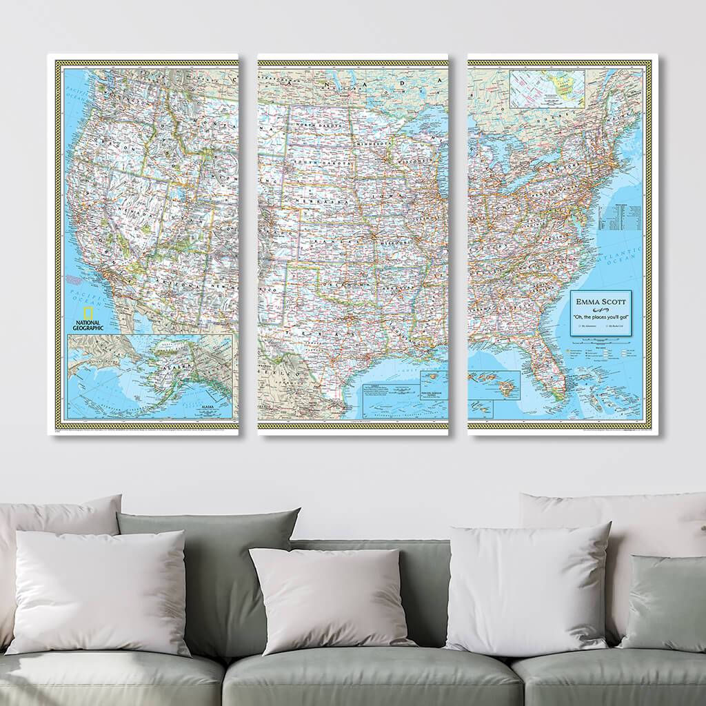Classic USA Pin Map in 3-Panel Gallery Wrapped Canvas Style