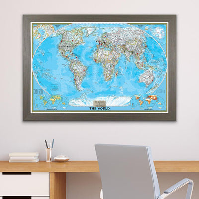 Classic World Push Pin Travel Map with Pins in Barnwood Gray Frame