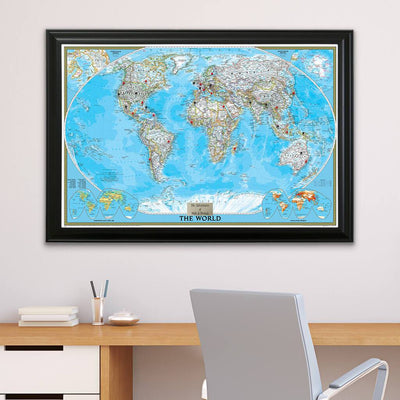 Classic World Push Pin Travel Map with Pins in Black Frame