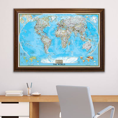 Classic World Push Pin Travel Map with Pins in Brown Frame