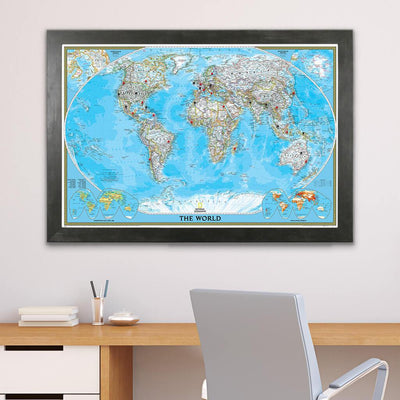 Classic World Push Pin Travel Map in Rustic Black Frame