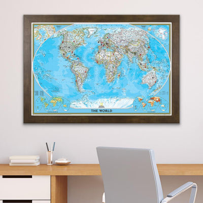 Classic World Push Pin Wall Map with Pins Rustic Brown Frame