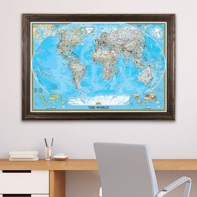 Classic World Pinboard Map with Pins Solid Wood Brown Frame