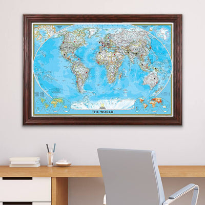 Classic World Push Pin Travel Map with Pins Solid Wood Cherry Frame