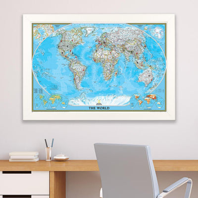 Classic World Push Pin Travel Map Textured White Frame