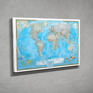 Side View Gallery Wrap Classic World Push Pin Travel Map