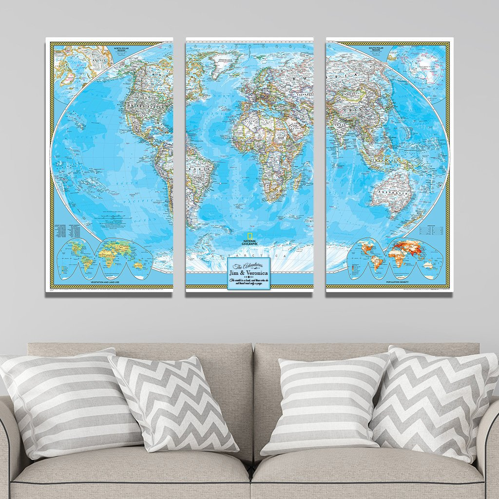 3 Panel Classic World Push Pin Travel Map